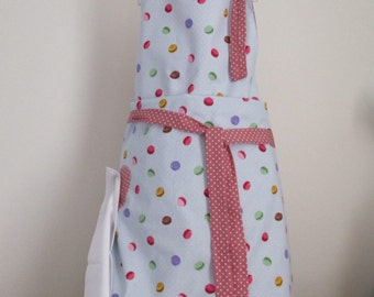 Apron, Macaroon Apron, Baking apron, Cooking Apron , Pinnie, reversible apron, Mothers Day gift pin on napkin
