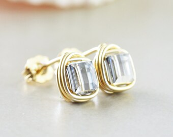 Crystal Square Studs, Crystal Cube Posts, Bridesmaid Earrings, Gold Silver Studs