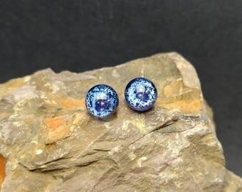 Blue stardust - sterling silver stud post earrings - artisan glass jewelry - handmade lampwork - galaxy space sky