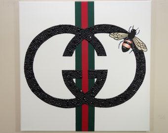 Gucci Bee Painting (20x20) Gucci Inspired, Designer Art, Fashion Art, Home Decor Art