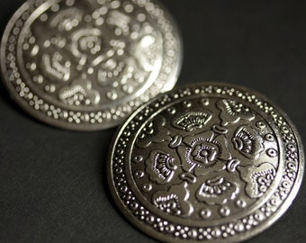 Two (2) Viking Brooches. Silver Apron Pins. Silver Shield Norse Shoulder Brooches. Renaissance Faire Jewelry. Historical Renaissance Jewelry