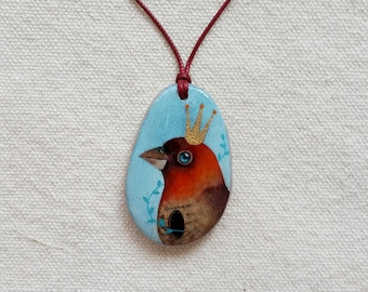 Necklace with bird hand painted on pink quartz single piece