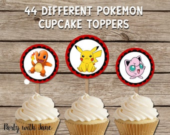 Pokemon Cupcake Toppers, Stickers, Party Decor, Decoration, Birthday, Pikachu, Charmander, Printable, Instant Download