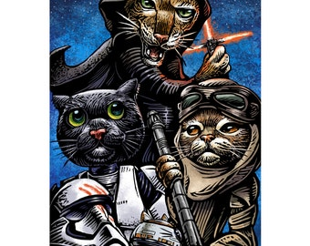 Cat Wars: The Force Awakens-  8 x10 signed print