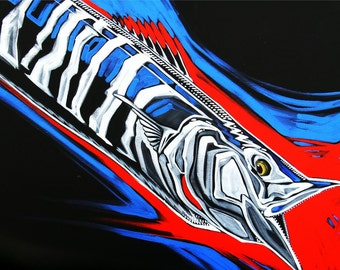 Wahoo on red and black