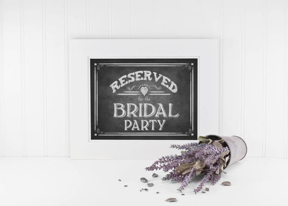 Wedding Seating Sign, Reserved Seating for Bridal Party, Wedding Party Seating Signage, Chalkboard Wedding Sign, Rustic Wedding Signs