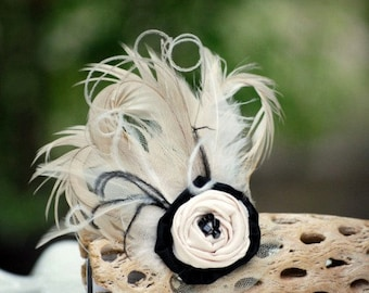 Wedding Hair Comb / Clip Champagne Ivory Beige & Black Feathers. Bride Bridal Bridesmaid, Summer Fall Fashion Brooch Pin, Statement Boudoir