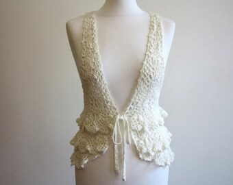 Vintage Ivory Off White Crocheted Cotton Vest Romantic Top Ruffled Waistcoat Small Size