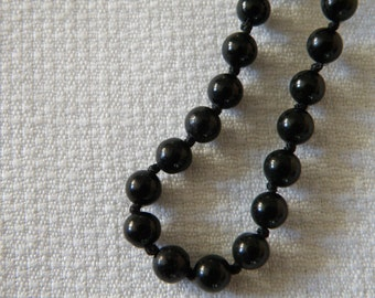 Black Onyx Bead Necklace - 36 inch