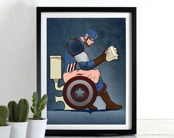 Superhero Captain America On the Toilet Bathroom Restroom Wall Art Hanging Print Home Décor literal toilet humour.