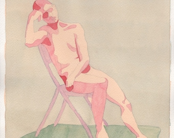 Reclining Man Watercolor Painting One of a Kind