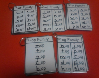 Word Families - Word Family Flash Cards - Word Family Cards - Dry Erase - Laminated - Kindergarten, First Grade, Reading, Teacher, 1st Grade