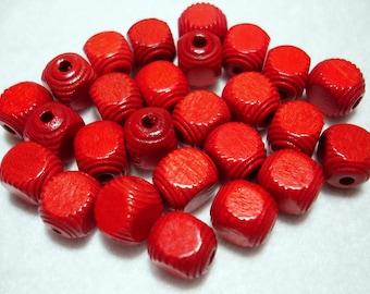 Red Corrugated Cube Wood 10x8mm Beads (Qty 26) - B3556