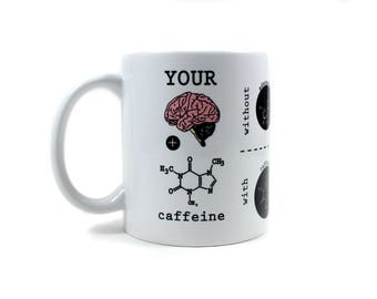 Your Brain and Caffeine, Brain Biochemistry Mug, Coffee, Neurotransmitters, Dopamine, Adenosine