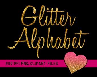 Gold Glitter Alphabet Clipart, Glitter Alphabet Clip Art, Gold Glitter PNG Letters, Cusive Font, Gold Alphabet Letters, Gold Glitter Numbers