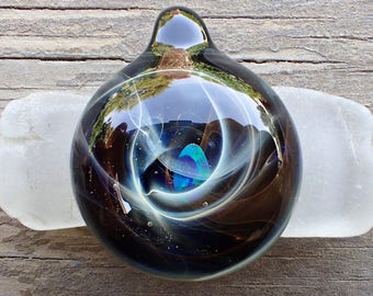 Gift for boyfriend, Smokey galaxy Pendant Necklace, heady glass pendant, blown glass pendant heady, trippy glass pendant Space Glass Pendant