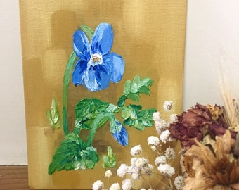 Blue violets original floral oil painting, spring flowers art | Small floral painting on canvas board, impressionist flower painting