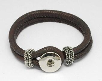 Bracelet holder for pressure 18mm 22 cm brown leather Snap button