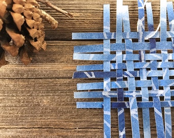 Small Blue Weaving- 3x3- Woven Paper- Hand Painted- Blue, White, Silver- Ornament