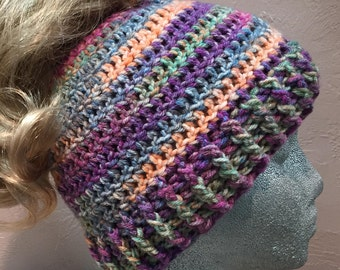 Messy Bun Hat Beanie - Ponytail hat - winter hat - 3 sizes - Over 25 colors available