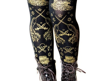 Pirate Tights Narwhal Tattoo Gold on Black All Sizes Women's Sailor Nautical Lolita Small Medium Large Extra Plus Size