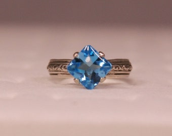 3.1 ct Natural Blue Topaz Sterling Silver Ring