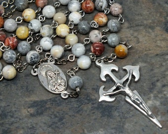 Gemstone Rosary of Crazy Lace Agate. Mater Dolorosa Center with Jerusalem Soil Relic, St. James Crucifix, Men's Rosary, 5 Decade Rosasary