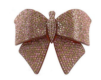 Hair Jewelry Large Lightweight Crystal Butterfly Barrette, Pink / Free Gift Box(SO7322-pk)