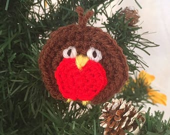 Handmade Crochet Christmas Robin Knitted Decoration