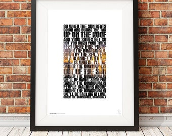 THE DRIFTERS - Under the Boardwalk - typography poster art print limited edition song lyrics quote
