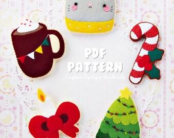 Christmas Sugar Cookie Pattern Set. PDF Soft Toy Pattern. Felt Soft Toy Pattern. Digital Pattern.