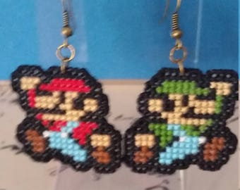 Mario and Luigi Cross Stitched Keychain/Necklace/Earring