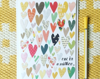 One in a million Card - Thank you card - Best Teacher card - Mothers day card - Fathers day card - Birthday card - Card for a friend
