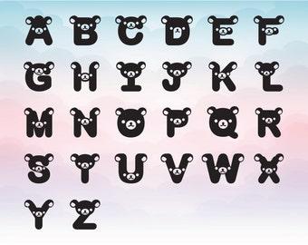 Cute bear font, Bear alphabet, Kids room letter, Children party font, Silhouette cut file, SVG letter alphabet A-Z, Seperate Vector file