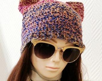 Kitty Hat, Colorful Hat , Cat Beanie Hat, Womens Hat, Kitty Wool Beanie, Girlfriend Gift, Cat Hats, trendy hat