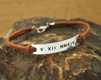 Memory bracelet hand stamped Roman Numerals customized gift In loving memory gift idea personalized jewelry