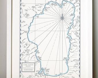 Lake Tahoe Basin Letterpress Printed Map (Navy)