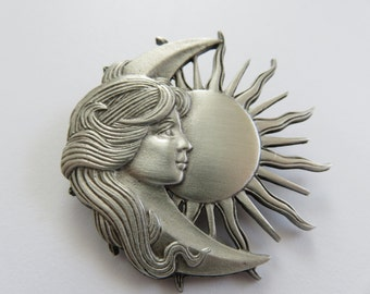 JJ Jonette Lovely Woman With Flowing Hair Celestial Brooch Pin