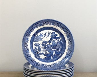 Set 8 Vintage Churchill Blue Willow Dinner Plates Chinoiserie Dinnerware Traditional Home & Chinoiserie plates   Etsy