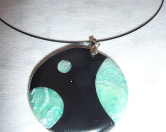 Necklace polymer clay and green ink
