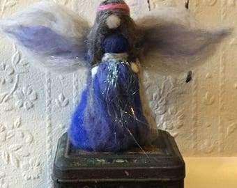 Felted Winter fairy angel made with love