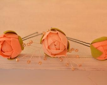 Set of 3 Blush pink peony hairpins Rustic wedding hairpins Bridesmaids hair accessory Flower Hairpins Bridal bobby pins Flower burgundy
