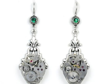 Vintage Watch Movement and Emerald Crystal Silver Earrings
