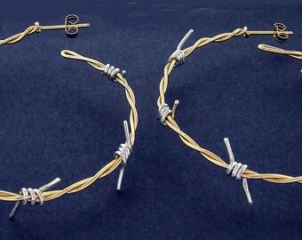 Barb Wire Earrings Gold & Silver - 2 Inch Diameter - Custom Design