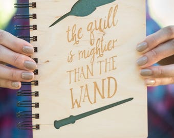 The Quill is Mightier than the Wand- Lasercut Wood Journal