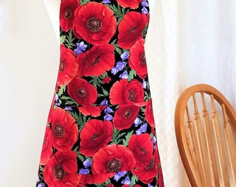 Womens Apron in Red Poppies