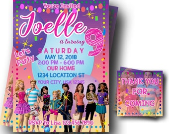 Digital Barbie Invitation - Barbie Dreamhouse Invite - Barbie Party Invitation - PRINTABLE - FREE Thank You Cards