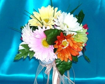 On Sale Bridal Bouquet With Gerbera Daisies in Pastels and Brights With Peach Colored Satin Wrapped Stems and Ribbons