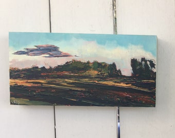 6x12 inch Original Acrylic Alberta Prairie Sunset Landscape Painting on birch - 'as the days are getting long'