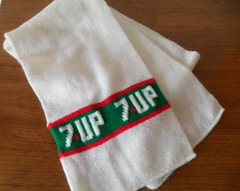 Vintage 7 UP Advertising Knit Scraf White & Green with 7Up Logo 1970s Scarves